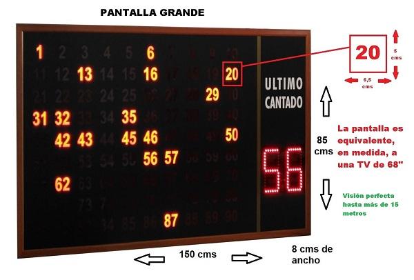 pantalla bingo medidas
