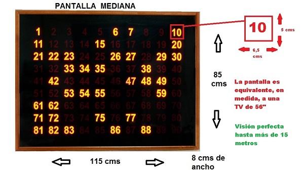 pantalla mediana bingo medidas