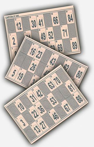 cartones de bingo troquelados